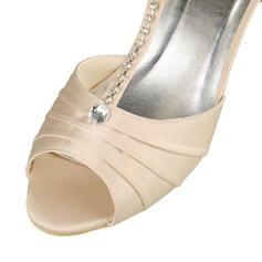 Frauen Satin Niederiger Absatz Peep-Toe Sandalen