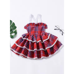 Girls Spaghetti Strap Plaid Casual Cute Dress