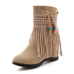 Femmes Similicuir Talon compensé Bout fermé Bottes Bottines avec Tassel chaussures