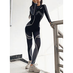 Round Neck Long Sleeves Print Sporty Sets