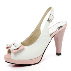 De mujer PU Tacón stilettos Sandalias Salón Plataforma Encaje Solo correa con Bowknot zapatos