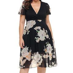 Print/Floral/Patchwork Short Sleeves A-line Casual/Plus Size Midi Dresses