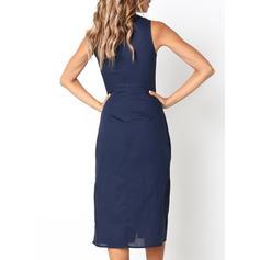 Solid Sleeveless Sheath Casual Midi Dresses