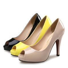 De mujer Piel brillante Tacón stilettos Sandalias Salón Plataforma Encaje zapatos