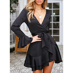 Solid Long Sleeves/Flare Sleeves A-line Above Knee Little Black/Elegant Wrap/Skater Dresses