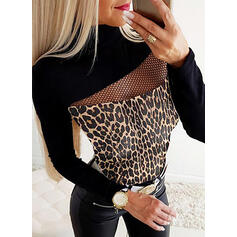Animal Print Round Neck Long Sleeves Casual Sexy Blouses
