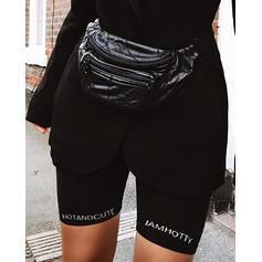 Letter Solid Color Sports Shorts