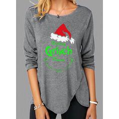 Boże Narodzenie Nadruk Wytłaczany Okrągły dekolt Długie rękawy T-shirty