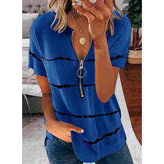 Print V-Neck Short Sleeves Casual Blouses