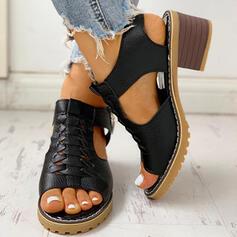 Frauen PU Stämmiger Absatz Peep Toe mit Reißverschluss Schuhe