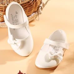 Girl's Leatherette Flat Heel Closed Toe Flower Girl Shoes With Bowknot