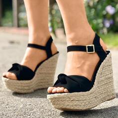 Femmes PU Talon compensé Sandales À bout ouvert avec Boutons chaussures