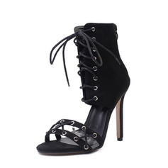 Women's Suede Stiletto Heel Sandals Pumps Peep Toe With Zipper Lace-up shoes