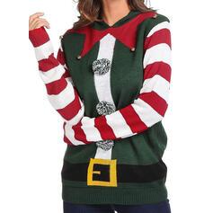 Donna Poliestere A righe Maglione di Natale brutto