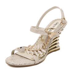 Femmes PU Talon compensé Sandales Compensée avec Strass chaussures