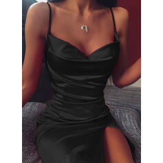 Solid Sleeveless Sheath Above Knee Little Black/Sexy/Party Slip Dresses