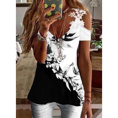 Trykk Color Block Blomstrete Blonder Kald skulder Kortermer Cold Shoulder Sleeve Elegant Bluser