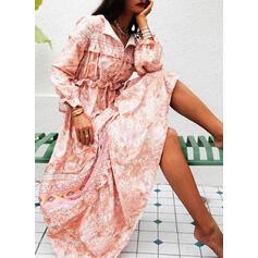 Imprimée/Fleurie Manches Longues Trapèze Patineuse Décontractée/Bohème/Vacances Maxi Robes