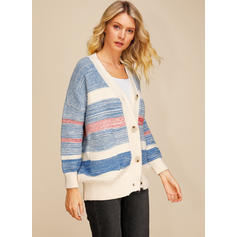 Acrylic Long Sleeves Striped Cardigans
