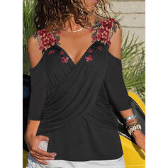 Solid Embroidery Cold Shoulder 3/4 Sleeves Casual Blouses