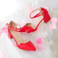 Femmes Cuir verni Talon bottier Sandales Escarpins Bout fermé Mary Jane avec Boucle chaussures
