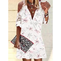 Imprimeu/Floral Dantel Mâneci la Jumătate Soğuk omuz kılıfı Shift Elbiseleri Deasupra Genunchiului gündelik Tunică Elbiseler