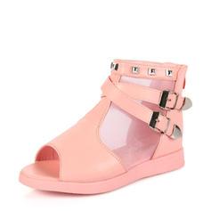 A menina de Peep toe imitação de couro Heel plana Sandálias Sem salto Sapatas do florista com Fivela Rivet Zíper