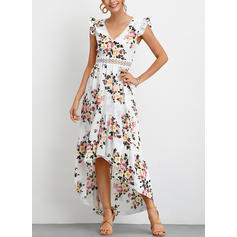 Print/Floral Cap Sleeve A-line Asymmetrical Party/Elegant/Boho/Vacation Dresses