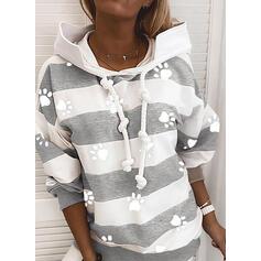 Color Block Animal Print Long Sleeves Hoodie