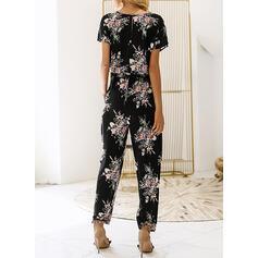 Floral Print V-Neck Short Sleeves Casual Jumpsuit