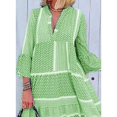 Print 3/4 Sleeves/Flare Sleeves Shift Casual Maxi Dresses
