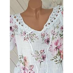 Цветочный V шеи С коротким рукавом Повседневная элегантный Блузы
