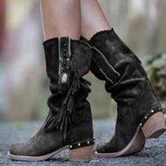 Women's PU Chunky Heel Boots With Zipper Tassel shoes