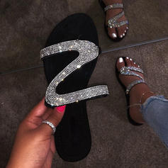 Women's PVC Flat Heel Sandals Flats With Beading shoes