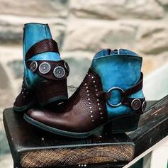 Women's PU Chunky Heel Boots With Buckle Zipper shoes