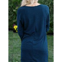 Μονόχρωμο Μακρυμάνικο Αμάνικο Πάνω Από Το Γόνατο Καθημερινό Сукні