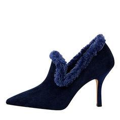 Femmes Suède Talon stiletto Escarpins Bout fermé avec Fausse Fourrure chaussures
