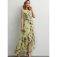 Estampado/Floral Sem mangas Evasê Assimétrico Casual/Elegante Vestidos