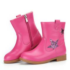 Fille de Cuir en microfibre Low Heel bout rond Bout fermé Bottes mi-mollets Bottes Chaussures de fille de fleur avec Zip