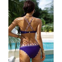 Hochtailliert Drucken Neckholder Sexy Boho Bikinis Bademode