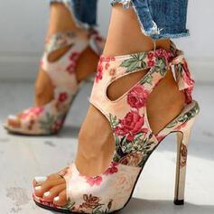 Női PU Tűsarok Szandál Magassarkú Peep Toe Hegyes orr -Val Hálós ruha Virág Splice szín cipő