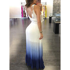 Tie Dye Sleeveless A-line Skater Sexy/Casual/Vacation Maxi Dresses
