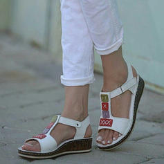 Women's Leatherette Wedge Heel Sandals Wedges Peep Toe With Velcro shoes