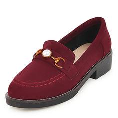 Femmes Suède Talon plat Chaussures plates avec Perle d'imitation chaussures