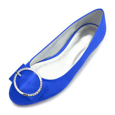 Femmes Soie comme du satin Talon plat Bout fermé Chaussures plates avec Boucle