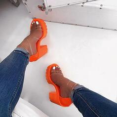 Mulheres PVC Salto robusto Sandálias Bombas Plataforma Peep toe sapatos