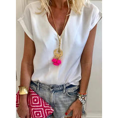 Solid V Neck Short Sleeves Casual Elegant Blouses