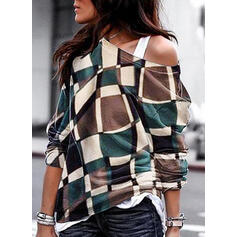 Print One Shoulder Long Sleeves Casual Blouses