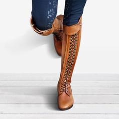 De mujer PU Tacón plano Planos Cerrados Botas con Cordones zapatos