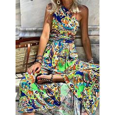 Print Sleeveless A-line Skater Boho/Vacation Maxi Dresses